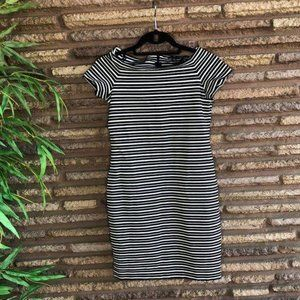 Ann Taylor Black White Striped Dress NWT Petite